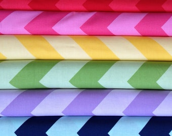 Riley Blake Large Chevron Bundle, Red, Pink, Yellow, Green, Purple and Navy/Blue