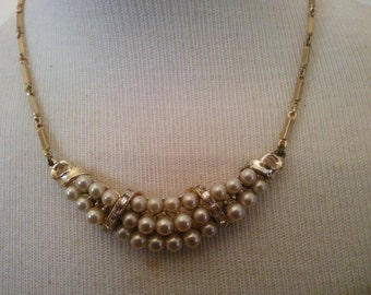 Vintage Necklace - Vintage Pearl Pendant Necklace - Pearl and Rhinestone Necklace