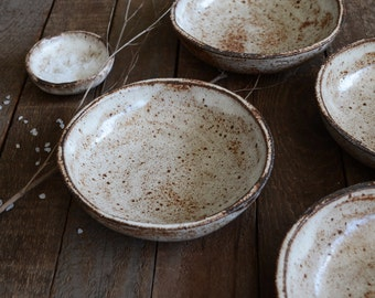 Shino Ceramic Bowl - Cereal Bowl - Pottery Bowl - Rustic Bowls - Ceramics - Bowl