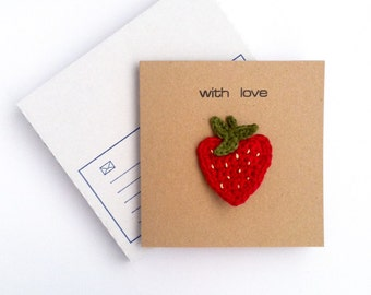 Greetings Card with Brooch for her / Love Heart Strawberry / Eco-friendly