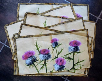 Vintage Set of 6 THISTLE NAPKINS, Bright Flowers on a Pale Yellow Background. NOS, Retro, Mid Century, 1960s.