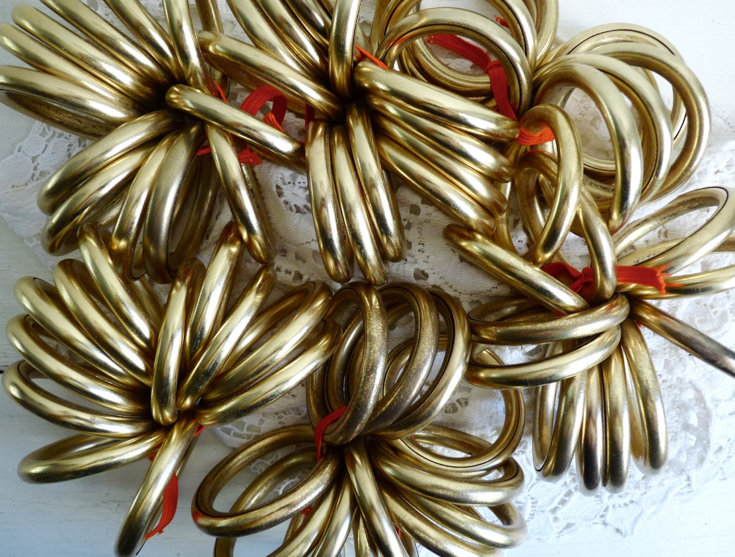 Vintage French Brass Curtain Rings 12 Pieces Gold Toned