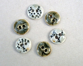 Mix And Match Green Sewing Buttons,  Spots And Dots Porcelain Buttons