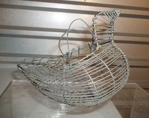 Vintage 50's Egg Wire Basket / Bird Shape Handwoven Wire Basket w/2 Handles Picture Prop Free Shipping