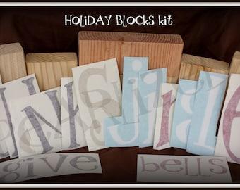 Reversible Holiday Blocks KIT - Wood and Vinyl - UNPAINTED