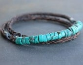 Turquoise Mens Bracelet - Rugged braided Leather sterling silver turquoise mens jewelry, guys gift, mens anniversary gift for him