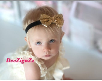 Girls Hair Accessories-Gold-Sequins-Bow-Vintage-Headband-Wedding-Photo Prop-Flowers for Hair-Christening-Flower Girl-Baby