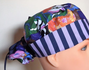 Purple, blue and pink Print Pony Tail Style Surgical Hat