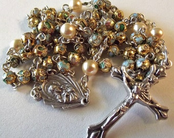 Cloisonne and Pearl Catholic Rosary