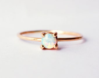 Small Opal 14K Yellow Gold Solitaire Ring, Rustic, Wedding Ring, Engagement Ring, Tiny Ring, Skinny Band