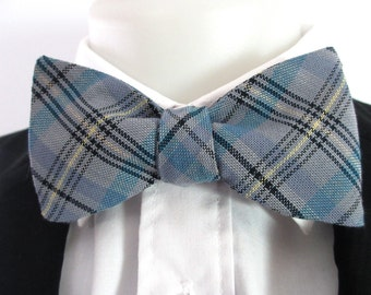 Mens bowtie - blue  plaid /tartan with yellow and black accents -  classic self tie, freestyle  bowtie