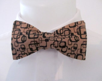 Men's bowtie  in a retro design ~ brown and black colorway - neoud - papillion - tie