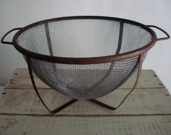 Vintage RUSTIC Metal COLANDER Sieve Strainer-Distressed FARMHOUSE Style Kitchen Decor for Wall or Display,