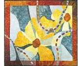 Quilted Wall Hanging, Fiber Art, Grey and Yellow Flowers