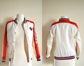 Vintage Adidas Bomber Jacket, Red White and Blue, Starter Jacket, White Tag, Adidas Coat, Womens Small