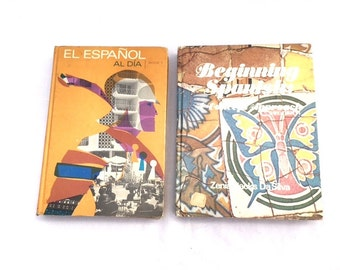 Vintage BEGINNERS SPANISH Textbooks / Two Volume Learning Spanish Book Set / Third Edition
