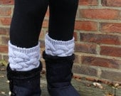 KNITTING PATTERN Double Dutch Boot Toppers Cabled Knitting Pattern Womens Teenager Fashion Winter Accessory Boot Cuffs Legwarmers