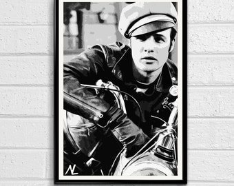Marlon Brando from The Wild One illustration, Rebel Pop art, Motorcycle Home Decor, Poster Print Canvas