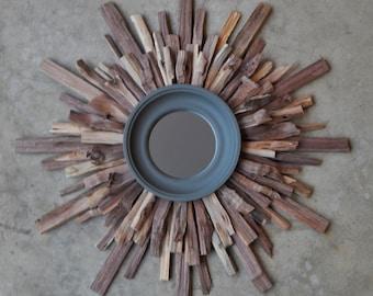 "18"" Rustic Walnut Reclaimed Wood Starburst, Industrial Wall Art, MADE to ORDER"