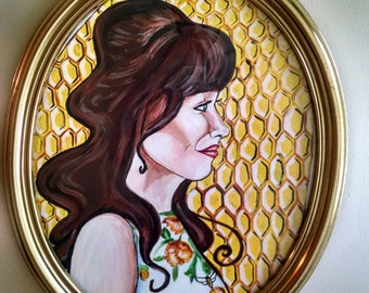 Pushing Daisies portrait paint on illustration board Charlotte Charles Chuck framed in gold