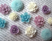 Resin Flower Cabochons, 12 Cabochon Flowers, Aqua, White, Purple Flat Back Flowers, Perfect for Bobby Pins, Rings, Earrings