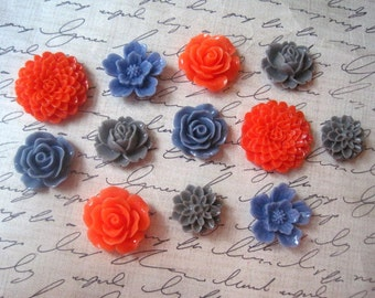 Resin Flower Cabochons, 12 pcs Bright Coral, Cornflower Blue and Slate Gray Cabochon Flowers, Resin Roses, Dahlias, Sakura, No Holes