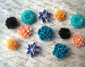 Cabochon Flowers, 12 pcs Teal, Blue, Peach and Orange Resin Flowers, No Holes, Flat Backs, 18mm to 20mm