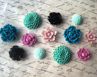 Flower Cabs, 12 pcs Lilac, Sage, Mint, Teal and Navy Resin Cabochon Flowers, No Holes, Flat Backs, 15mm to 24mm