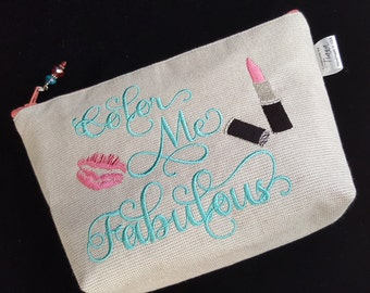 Make Up Bag, Makeup Bag, Embroidered, Cosmetic Bag, Purse, Pouch, Handmade, Canvas, Ready to Ship