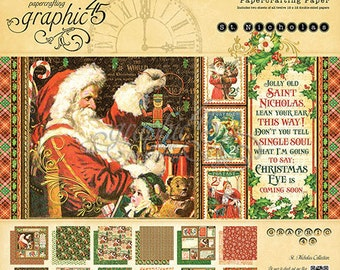 "Graphic 45 ""St Nicholas"" 8 x 8 Paper pad Cardstock Collection"