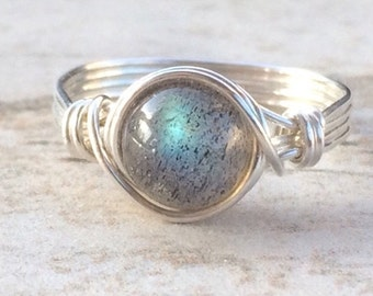 Fall Sale Labradorite Wire Wrapped Ring, Labradorite Gemstone Ring, Sterling Silver Filled Ring, Any Size