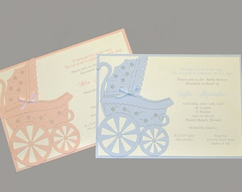 Dalila Baby Showers This sweet carriage invitation is perfect for your Baby Shower