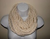 Cream Infinity scarf, ivory chain scarf, loop scarf, off white circle scarf, indie scarf, eternity scarf, crochet infinity scarf, knit cowl