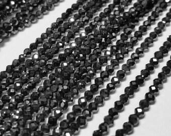 Black Titanium Coated Quartz Faceted Round Beads 2mm