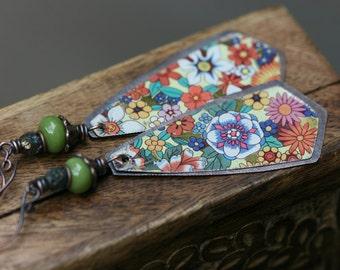 Boho Folk Rustic 'Earth Gardens' Series Floral Tin earrings n24- upcycled tin . artisan earrings . floral tin earrings . marquise shape