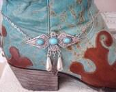 Boot Jewelry Bracelet Thunderbird Faux Turquoise Phoenix Peyote Bird Cowgirl Hippie Chic Boho Festival