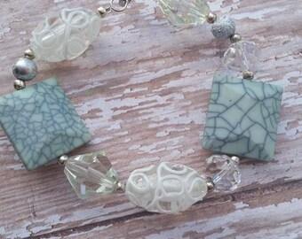 Mom Bracelet, Women's Bracelet, Green and White Bracelet, Present for Her