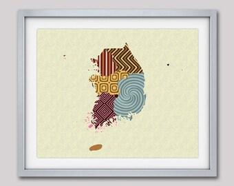 South Korean Map,  South Korean Art, Map Of South Korea,  South Korean Decor, South Korean  Poster, Seoul, Asia Map, Map Art