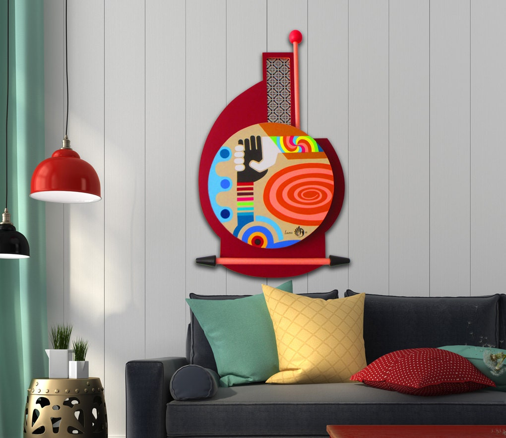 Unique painting original abstract pop art on wood for Pop wall art