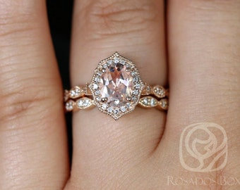 Rosados Box Lana 8x6mm 14kt Rose Gold Oval Morganite and Diamond Halo WITH Milgrain Wedding Set