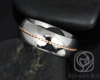 Darth 8mm 14kt Rose Gold & Cobalt Single Braided Band