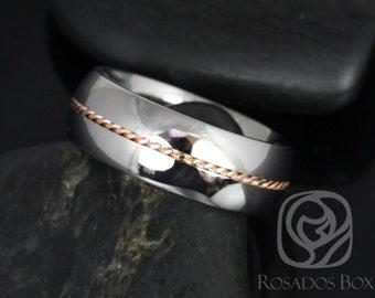 Rosados Box Darth 8mm 14kt Rose Gold & Cobalt Single Braided Band
