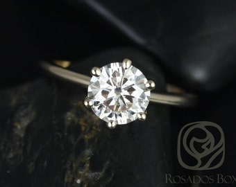 Rosados Box Skinny Webster 7.5mm 14kt Yellow Gold F1- Moissanite Six-Prong Webbed Engagement Ring
