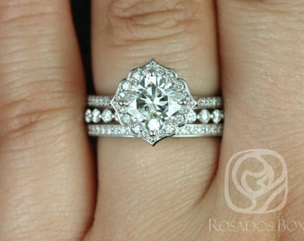 Rosados Box Rori 7mm, Pte Naomi,&Victoria 14kt White Gold Cushion F1- Moissanite Diamond Halo WITHOUT Milgrain TRIO Wedding Set