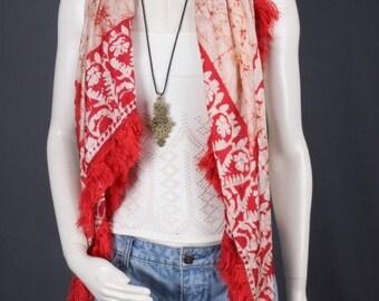 Red scarf batik print scarf shawl fringe bohemian gypsy boho women OSFA