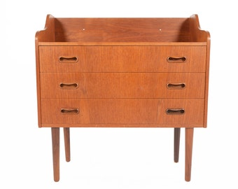 Danish Modern Mid Century Three Drawer Vodder Style Chest with Bookshelf