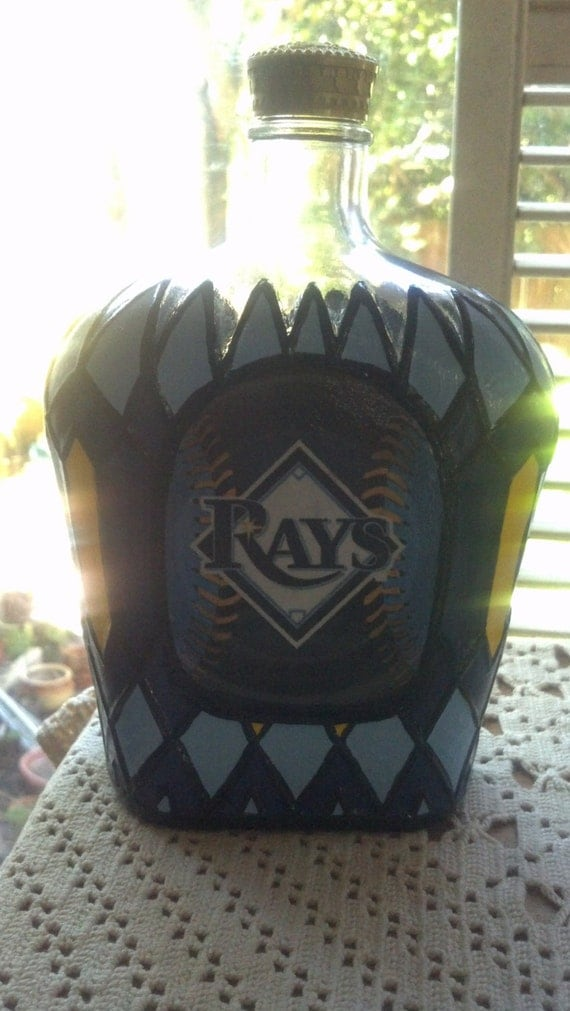 SALE Tampa Bay Rays Baseball Crown Royal Whisky Glass Upcycled  Bottle/Hand painted Rare OOAK