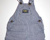 OSH KOSH Vintage Jean Short Overalls - Stripes - Hip Little Boy - 24 Months