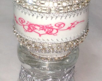 Decorated Duck Egg Kaleidoscope - Silver and White - Kaleidoscope with Gemstones - Styled After A Faberge Egg