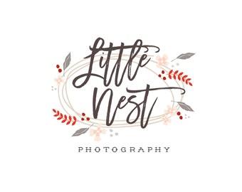 Ready Made Logo Design Photography Logo Premade Logo Business Logo Design Vintage Nest Feathers Newborn Photography Calligraphy Earthy